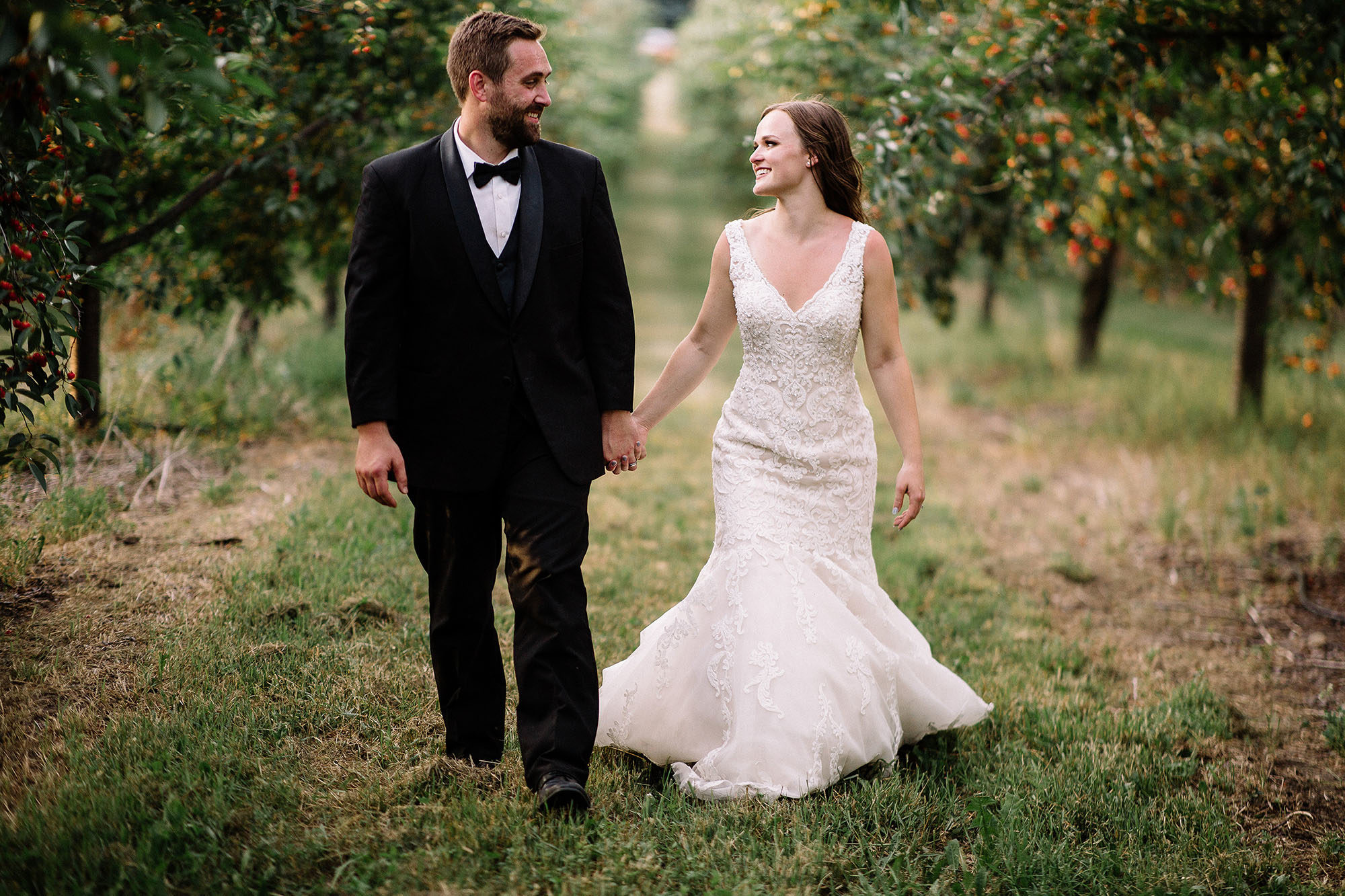 Bay View Weddings Bride and Groom in the Orchard
